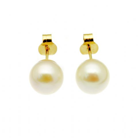 9ct Gold Pearl Earrings 7mm Round White Cultured Pearls Gold Studs